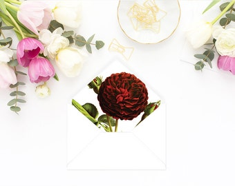 Printable Envelope Liner  | Botanical Envelope Liner | Envelope Liner Template - Burgundy Rose
