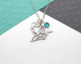 Personalized Origami Crane Necklace, Custom Bird Charm Necklace, Prison Break, Personalised Swarovski Birthstone & Initial Name Gift