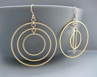 Multiple Hoop Earrings - Gold Dangle Concentric Circle, office jewelry, Uhura Orbital Earrings