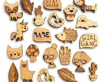 ANY SET of Wooden BROOCHES of your choice
