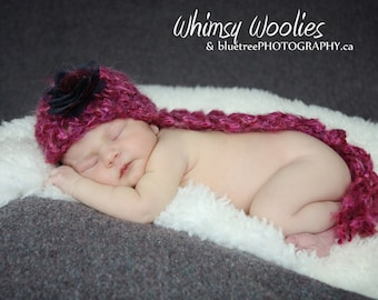 "Baby CROCHET HAT PATTERN: ""Pixietales"", Crochet Beanie, Photo prop, with Fabric Flower Embellisment"