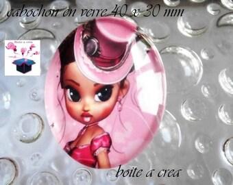Pink 1 cabochon glass 40x30mm theme miss dress