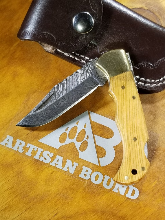 Handmade Olive Wood Handle Folding Pocket Knife Damascus Steel Blade Collection With Leather Sheath Premium (K33)