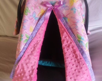 Glittery Butterflies Carseat Canopy/Cover Carrier pink and purple/ribbon Butterfly