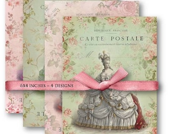 Marie Antoinette Carte Postale - Digital Collage Sheet Download -607- Digital Paper - Instant Download Printables
