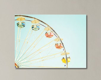 Ferris Wheel Canvas Art, Pastel Bright Colorful, Nursery Canvas Art, Sky Blue, Carnival Photography, Large Canvas Gallery Wrap