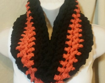 Orange and Black Striped Infinity Cowl Circle Scarf Neckwarmer
