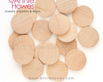 1.25 inch, 31.75mm Unfinished Wood Calendar Shapes for Making Jewelry, Game Pieces, Wood Calendars. 25 Pieces.