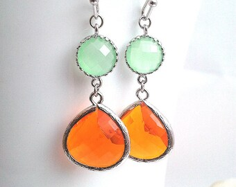 Orange Earrings, Green Earrings, Wedding earrings, Drop, Dangle earrings, bridesmaid gifts, Gemstone,Wedding jewelry,gift