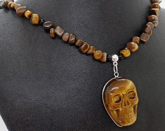 Tiger Eye Skull Rustic Pendant Necklace Natural Stone