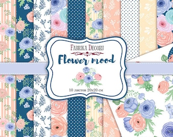 Scrapbooking paper pad 20x20 cm \ 8x8 flowers love spring