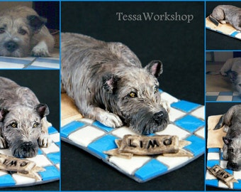 Custom handmade dog/pet sculpture FOR ORDER cca. 12 cm - polymer clay