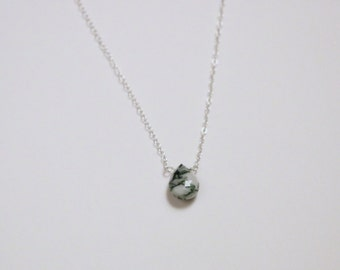 Tree Agate Necklace - Silver Gemstone Necklace - Teardrop Tree Agate Necklace - Sterling Silver Necklace - Natural Gemstone Necklace
