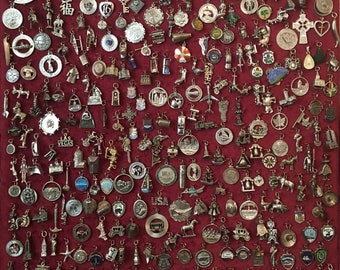 Vintage Sterling silver charms 1950s to 1970s Vintage many Enamel & Moveable NEW Photos as of May 25 2018 @ 15 dollars each charm
