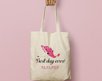 """ZIVA Swag Bag Custom Canvas Tote """"Best Day Ever"""" Papel Picado Map of Mexico"""