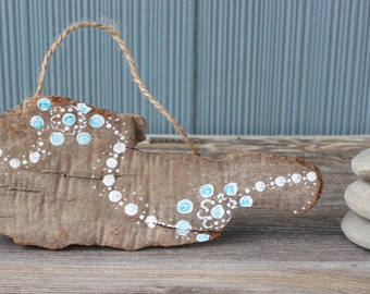 Boho Beach Hand Painted Wall Hanging , Cute Coastal Decoration , Driftwood Art