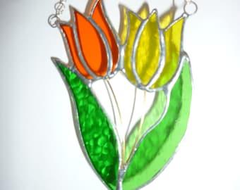 Stained glass Tulip suncatcher,