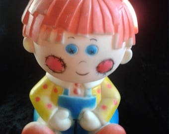 Raggedy Andy Vintage Stahlwood 1977 Squeak Squeeze Toy, Bobbs Merrill