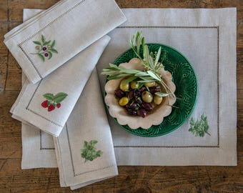 Oatmeal linen embroidered napkins + placemats - set of 4