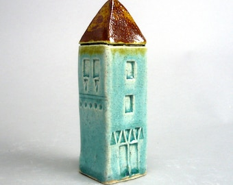 Miniature House , Tiny  Home , Turquoise House , Fairy Dwelling  , Tiny House Collecting ,  Architecture, Yellow House , Townhouse