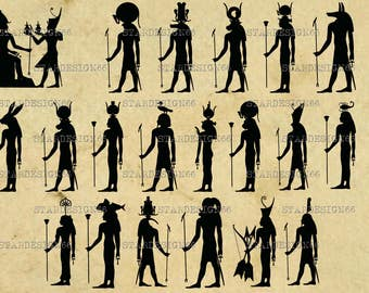 Digital SVG PNG JPG Egyptian Gods, ankhs, anubis, deity, ra, unut, maat, isis, egypt, history, silhouette, vector, clipart, instant download
