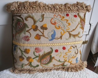 Antique crewel embroidered cushion (B)
