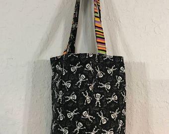 Halloween Treat Bag / Candy Bag / Skeletons Stripes Pumpkins
