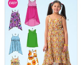McCall's M6948 Size 3-6 or 7-14  Children's/Girls' Pullover Dresses Sewing Pattern / Uncut/FF