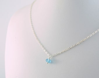 Real Swiss Blue Topaz Necklace, Child Teen or Women Sizes, December Birthstone, Semiprecious Gemstone, Sterling Silver Jewelry