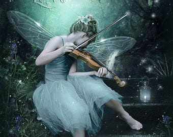 Magical fantasy fairy with violin in forest art print