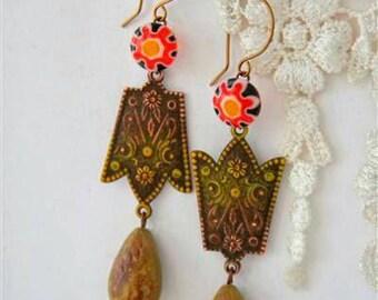 Mexican earrings, Southern Western Earrings, Sun Earrings, Hand Painted earrings, Jester Hat earrings, Floral Earrings