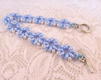 Blue White Woman Jewelry, Geometric Beaded Jewelry Beads Bracelet for Wife, Seed Beadwork, Bead Stitched Bracelet, Surprise Jewelry Gift