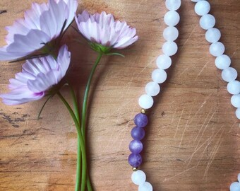 Matte rose quartz with matte amethyst necklace