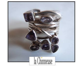 VINTAGE ring silver & Amethyst / Sterling Silver Amethyst Ring 70s /Bague 70's 925 sterling silver / Collectibles / Gift for her.