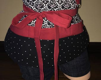 Black, White, Gray, and Red Half Waist Pocket Apron