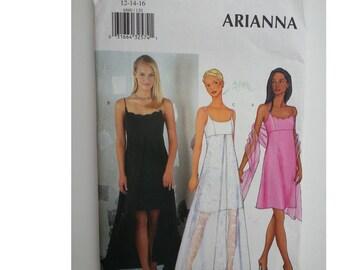 Sexy Dress/ / Prom / spaghetti strap /sheer dress/ long dress 2000 sewing pattern, Size 12 14 16, Bust 34 36 38, Butterick 6860