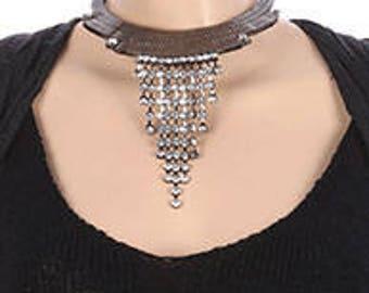 Layered Flat Chain Crystal Stone Fringe Choker Necklace