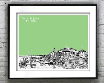 Lake Geneva Wisconsin Wedding Gift Guest Book Guestbook Poster Print -City Skyline WI