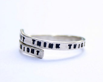 Bob Dylan handstamped Silver quote Ring 'Don't think twice it's all right' Sterling Silver 925 -Adjustable