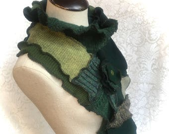 Patchwork Scarf, Upcycled Wool Sweaters, Shades of Green, Extra Long Scarf with Flower Pin Closure  #SCF201