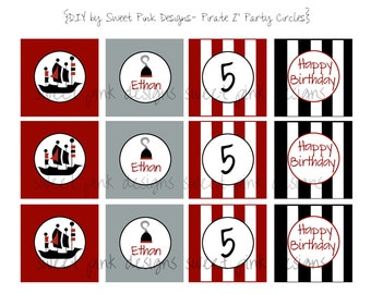 """Printable 2"""" Circles- Pirate Party Collection"""