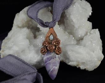 Amethyst and Moonstone Copper Pendant / Valentine's Day Gift For Her / Rose Jewelry / Electroform Necklace