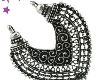 1 large connector 44 x 38 mm ethnic silver metal medieval theme
