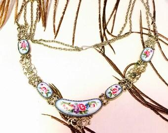 Beautiful Art Nouveau Art Deco Hand Painted Enamel Russian Floral Silver Filigree Vintage Necklace Art Nouveau Jewelry