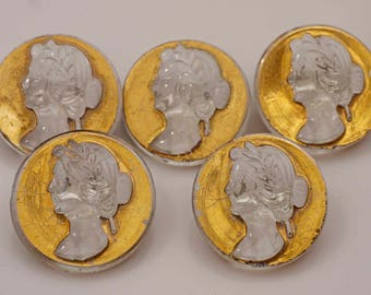 Attractive Antique Victorian Glass Cameo Buttons For Craft or Collecting
