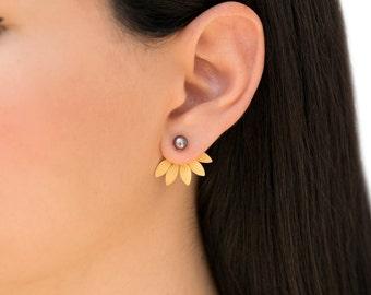 Pearl earring jackets, leaf ear cuff jacket earrings, pearl stud earrings, rose gold ear jackets, double side earrings, front back earrings