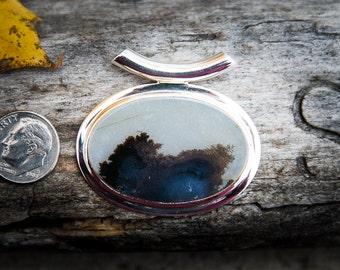 Dendritic Agate Pendant - Landscape Agate - Tube Bale Moss Agate Pendant - Agate Necklace - Dendrtic Agate Necklace - Moss Agate Pendant