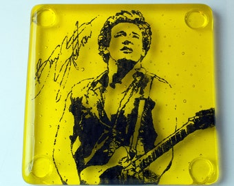 Bruce Springstein The Boss E Street Band Musician Fused Glass Coaster Music Singer Songwriter Guitar Guitarist