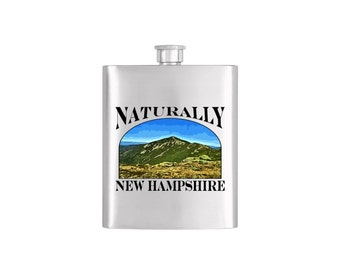 Naturally New Hampshire Mount Lincoln Flask - Stainless Steel 7 oz Liquor Hip Flask - Flask#Mount Lincoln