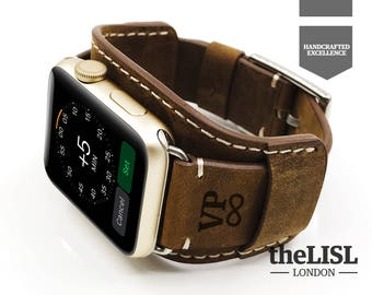 Personalized Leather Apple Watch Cuff Apple Watch Strap Bracelet  Boyfriend Gift Husband Gift Wide Apple Watch Leather Band 42mm 38mm